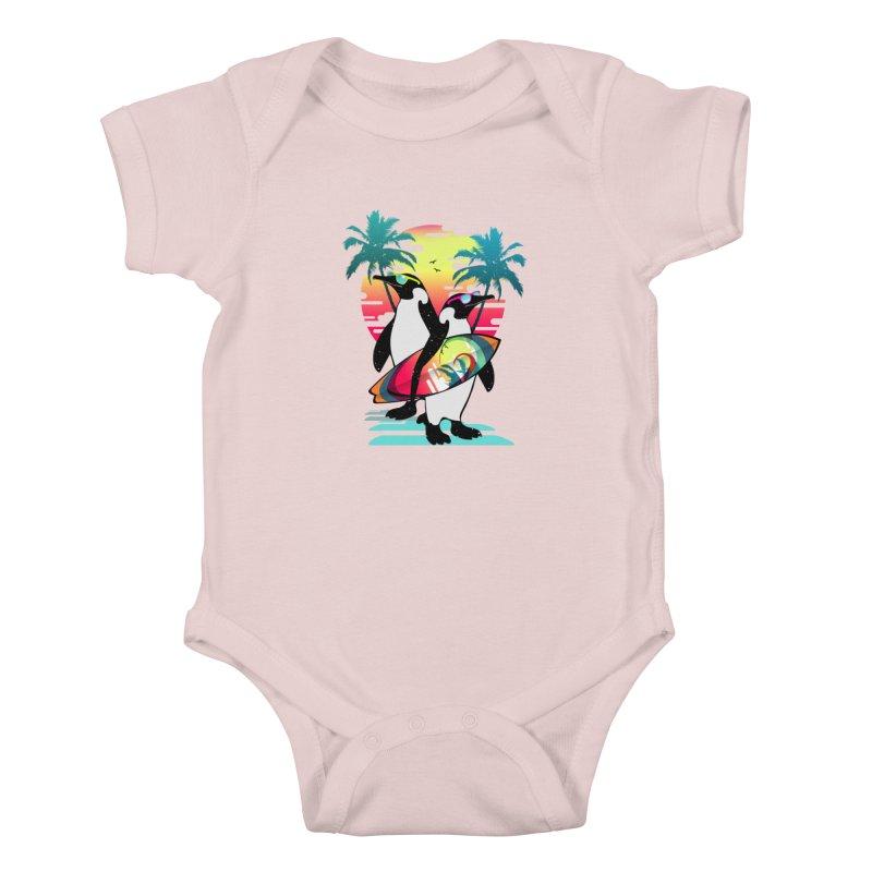 Surfer Penguin Kids Baby Bodysuit by clingcling's Artist Shop