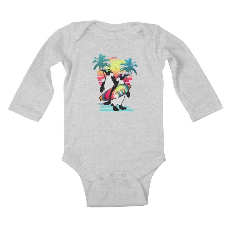 Surfer Penguin Kids Baby Longsleeve Bodysuit by clingcling's Artist Shop