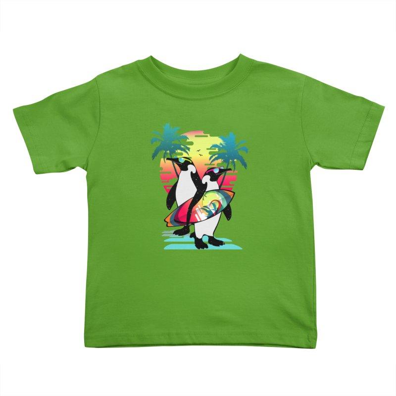 Surfer Penguin Kids Toddler T-Shirt by clingcling's Artist Shop