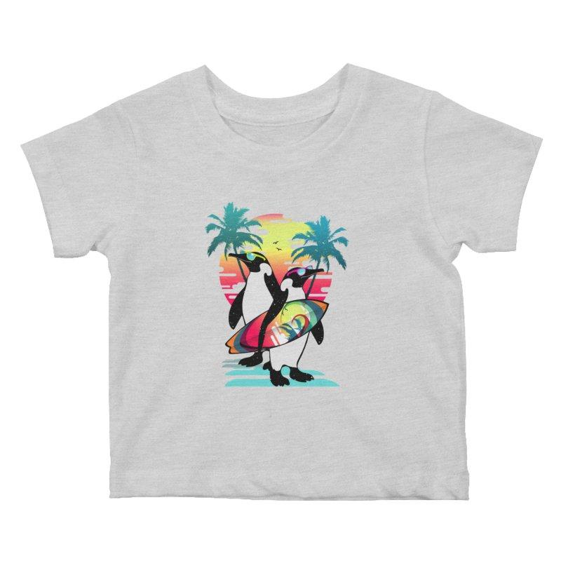 Surfer Penguin Kids Baby T-Shirt by clingcling's Artist Shop