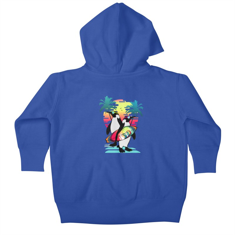 Surfer Penguin Kids Baby Zip-Up Hoody by clingcling's Artist Shop