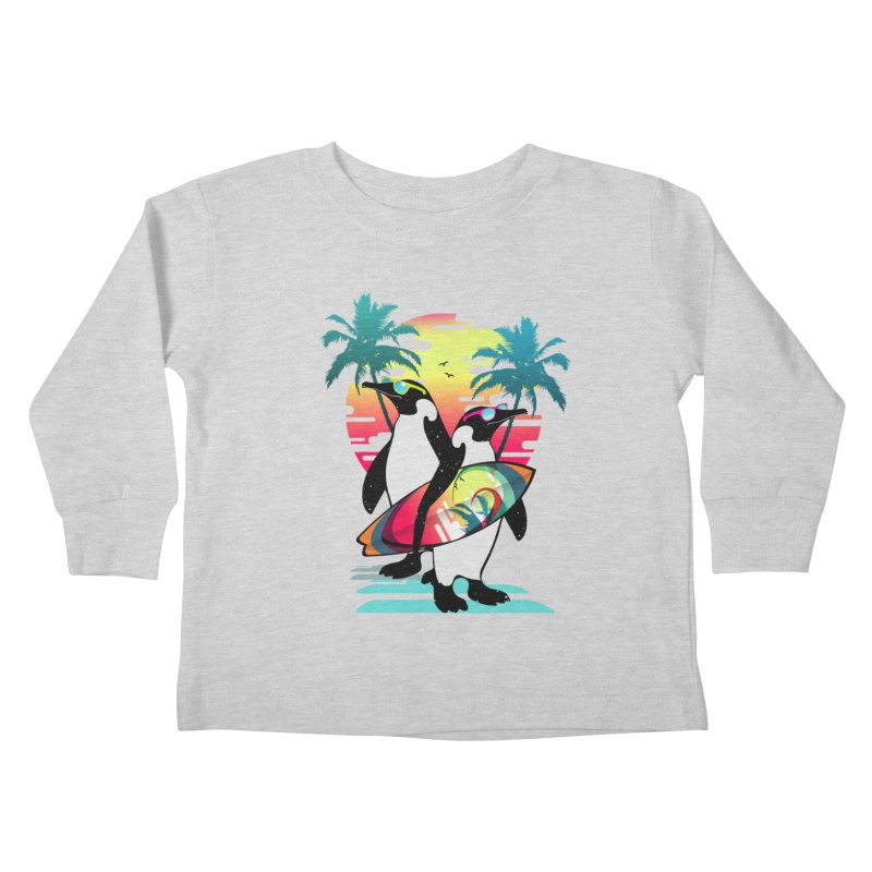 Surfer Penguin Kids Toddler Longsleeve T-Shirt by clingcling's Artist Shop