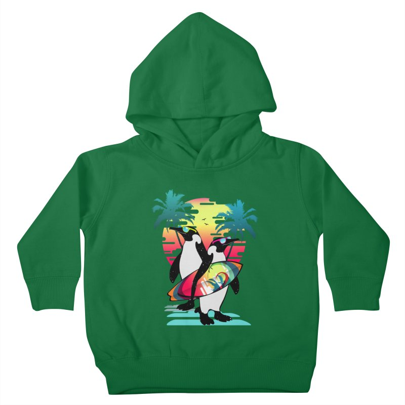 Surfer Penguin Kids Toddler Pullover Hoody by clingcling's Artist Shop
