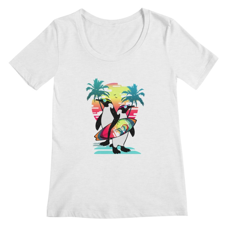 Surfer Penguin Women's Regular Scoop Neck by clingcling's Artist Shop