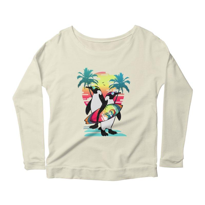 Surfer Penguin Women's Scoop Neck Longsleeve T-Shirt by clingcling's Artist Shop