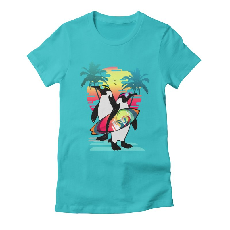 Surfer Penguin Women's Fitted T-Shirt by clingcling's Artist Shop