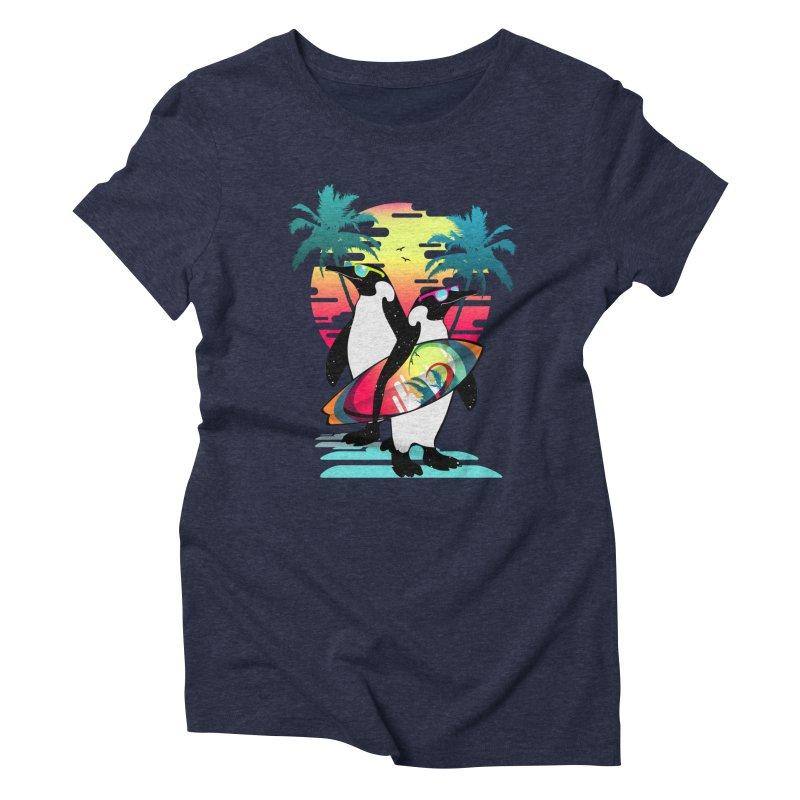 Surfer Penguin Women's Triblend T-Shirt by clingcling's Artist Shop