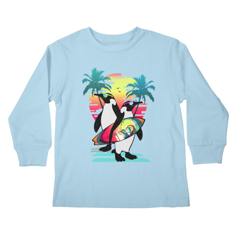 Surfer Penguin Kids Longsleeve T-Shirt by clingcling's Artist Shop