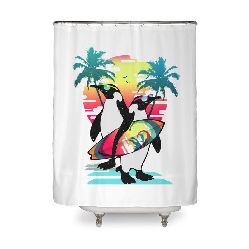Surfer Penguin Home Shower Curtain by clingcling's Artist Shop