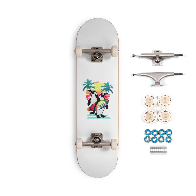 Surfer Penguin Accessories Complete - Premium Skateboard by clingcling's Artist Shop
