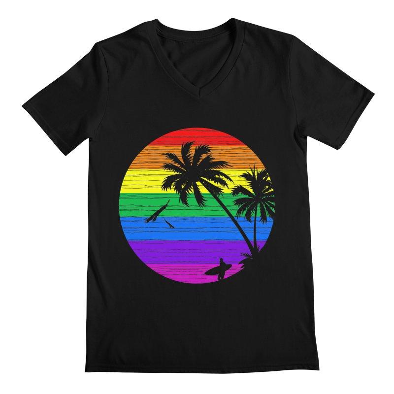 Rainbow Summer Men's V-Neck by clingcling's Artist Shop