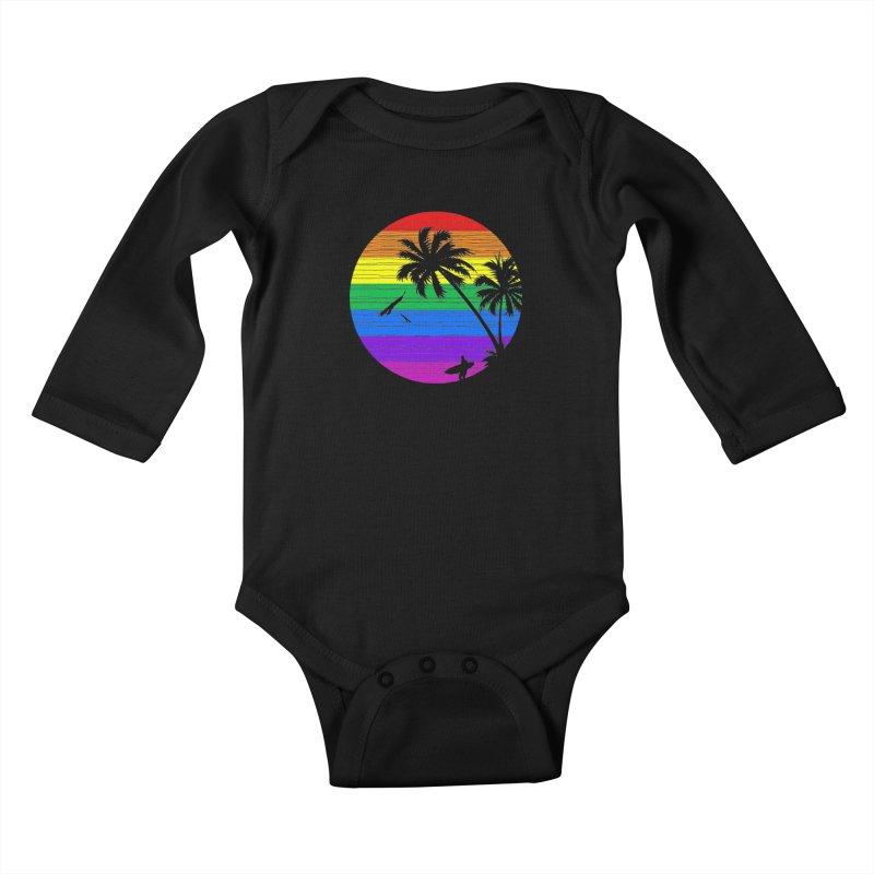 Rainbow Summer Kids Baby Longsleeve Bodysuit by clingcling's Artist Shop