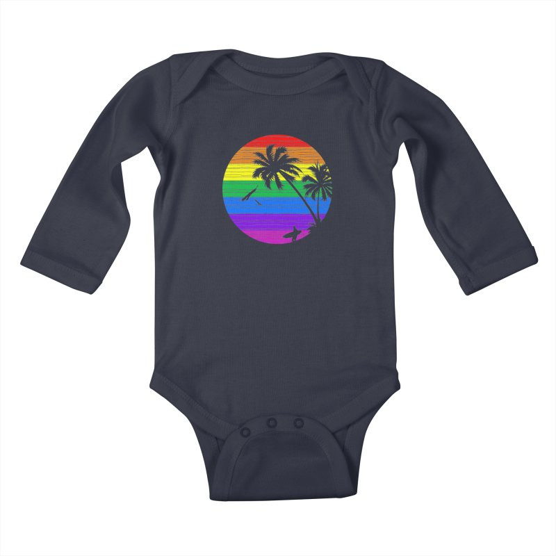 Rainbow Summer Kids Baby Longsleeve Bodysuit by clingcling's Artist Shop