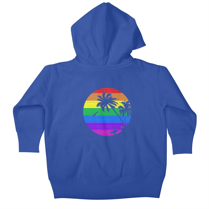 Rainbow Summer Kids Baby Zip-Up Hoody by clingcling's Artist Shop