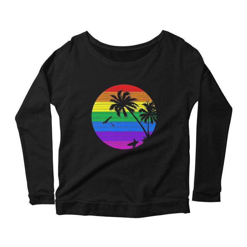 Rainbow Summer Women's Longsleeve Scoopneck  by clingcling's Artist Shop