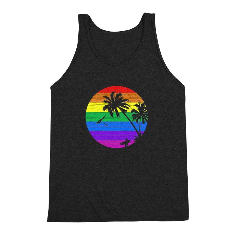 Rainbow Summer Men's Triblend Tank by clingcling's Artist Shop