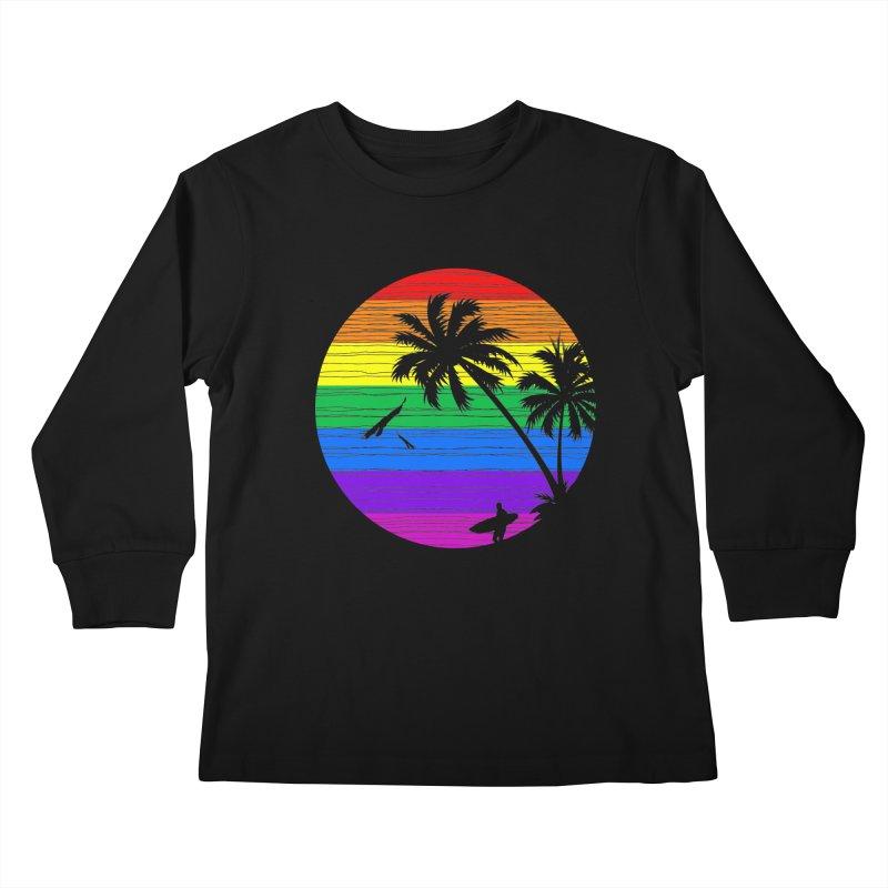 Rainbow Summer Kids Longsleeve T-Shirt by clingcling's Artist Shop
