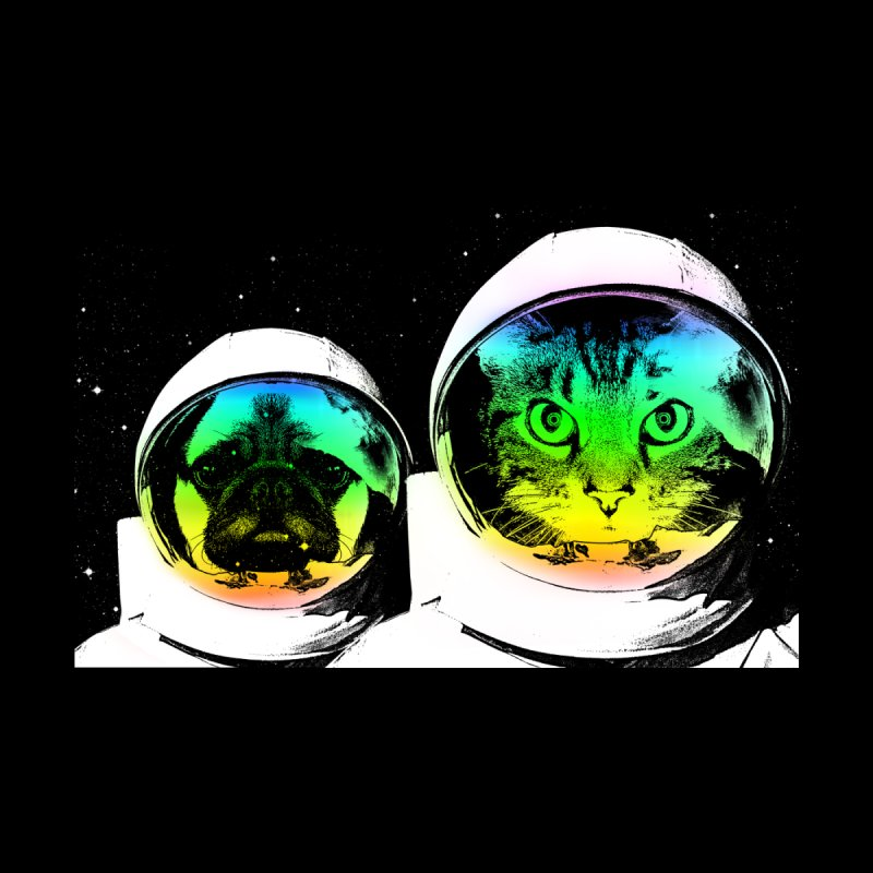 Cute animals on space None  by clingcling's Artist Shop