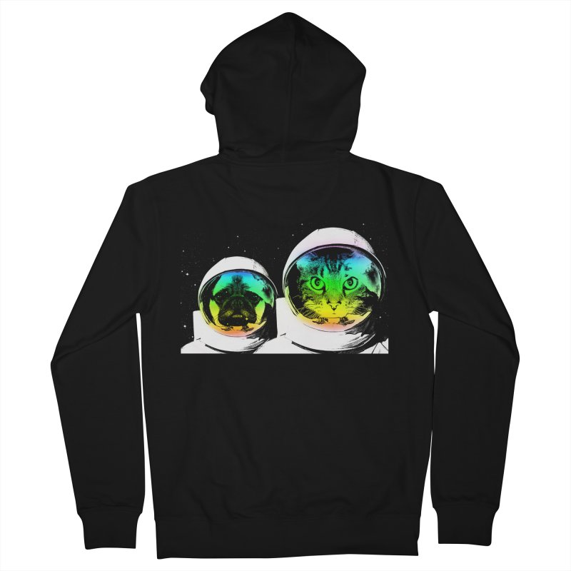Cute animals on space Men's Zip-Up Hoody by clingcling's Artist Shop