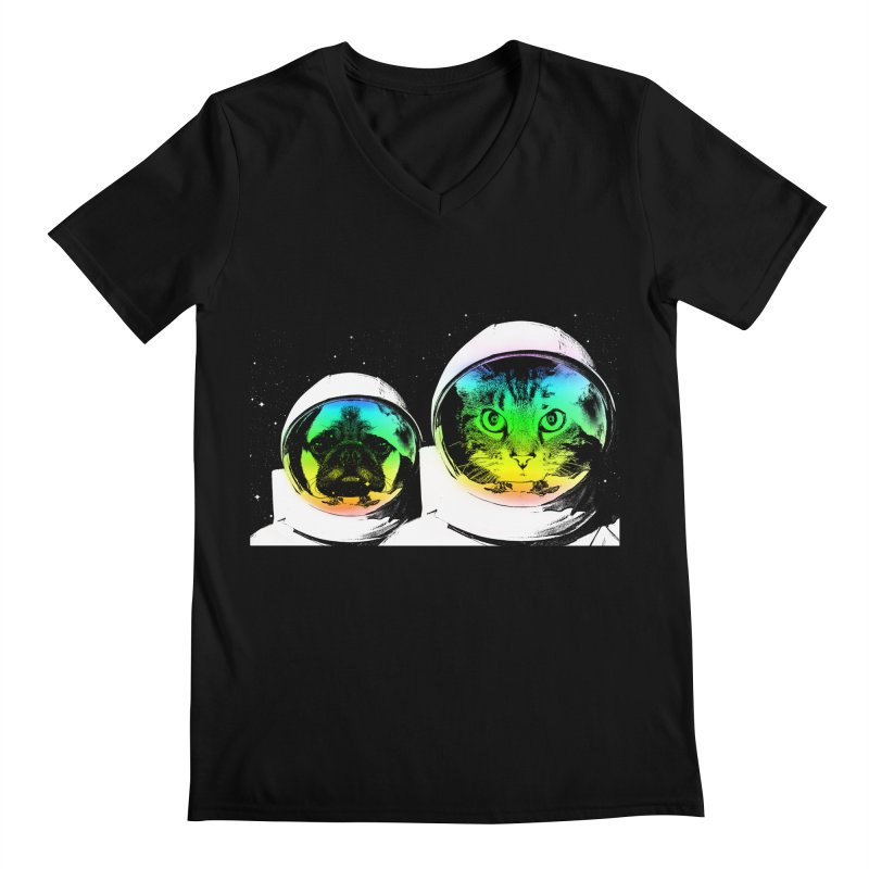 Cute animals on space Men's V-Neck by clingcling's Artist Shop