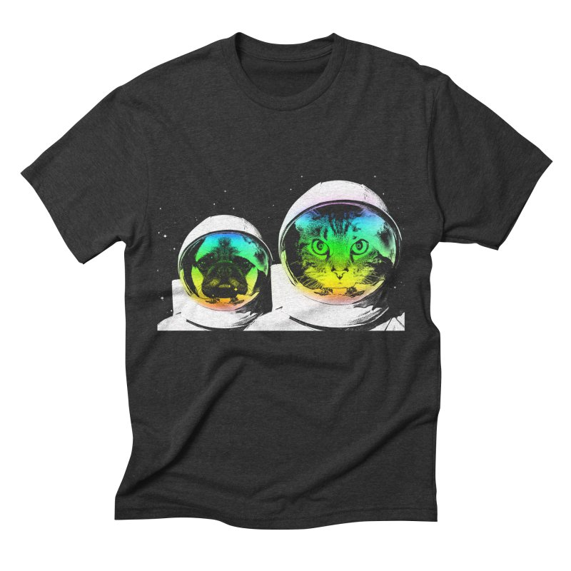 Cute animals on space Men's Triblend T-shirt by clingcling's Artist Shop