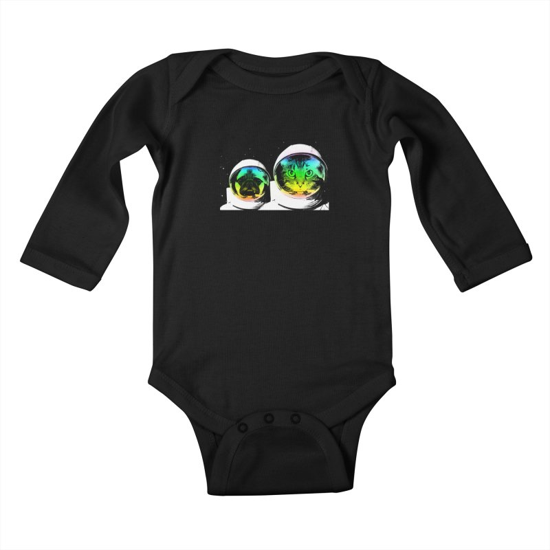 Cute animals on space Kids Baby Longsleeve Bodysuit by clingcling's Artist Shop