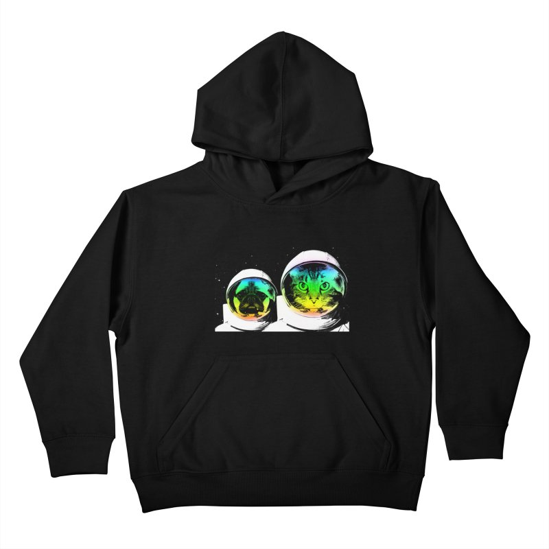 Cute animals on space Kids Pullover Hoody by clingcling's Artist Shop