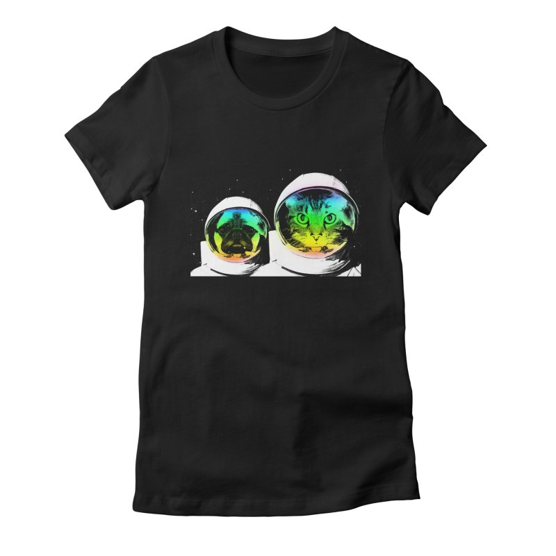 Cute animals on space Women's Fitted T-Shirt by clingcling's Artist Shop