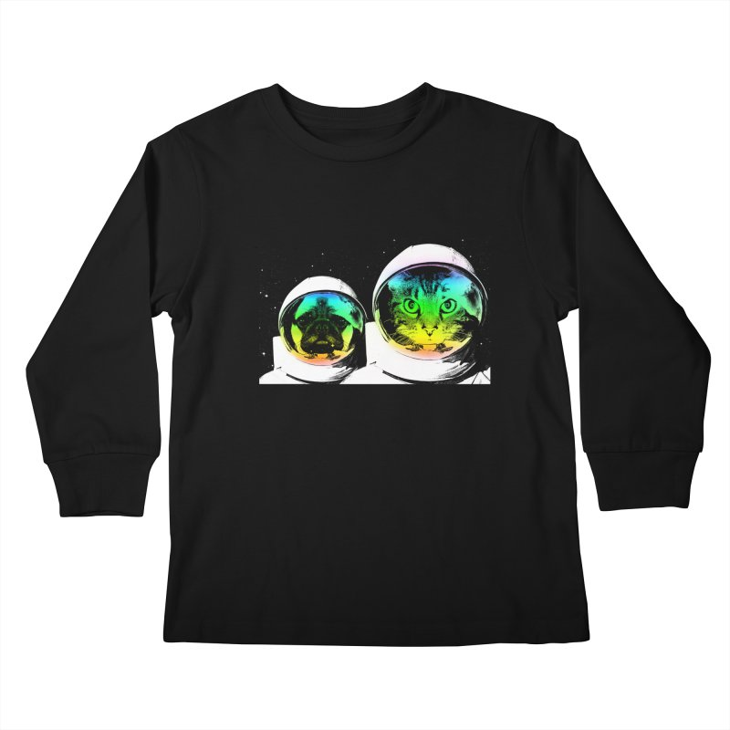 Cute animals on space Kids Longsleeve T-Shirt by clingcling's Artist Shop