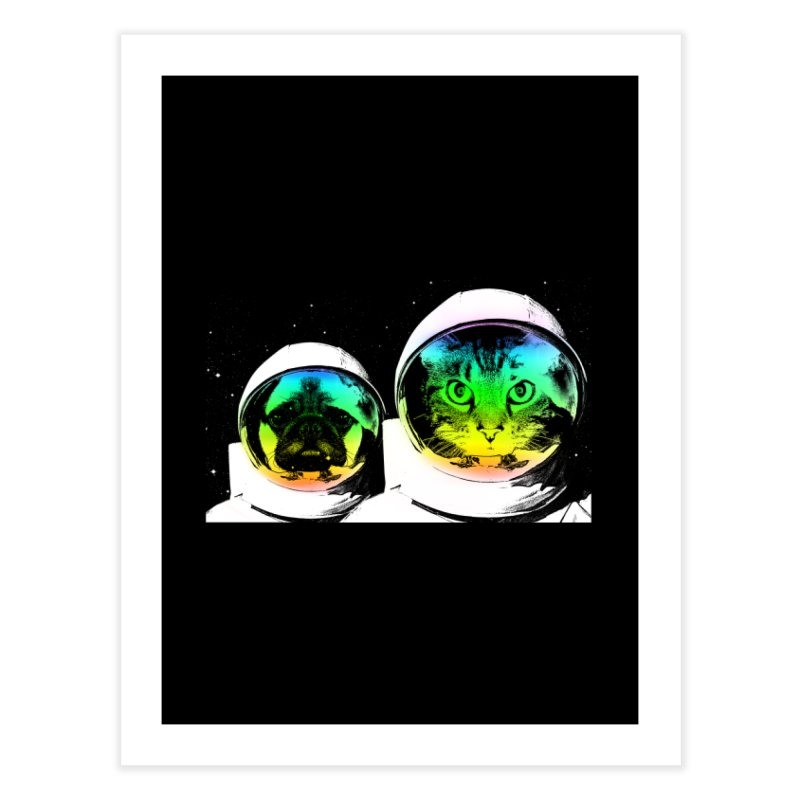 Cute animals on space Home Fine Art Print by clingcling's Artist Shop