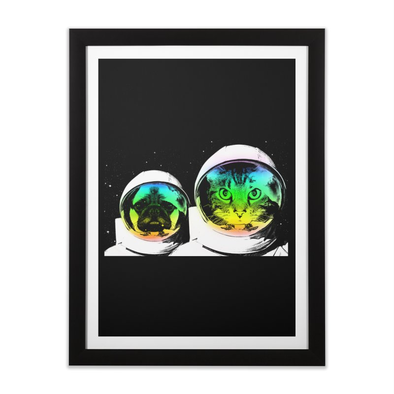 Cute animals on space Home Framed Fine Art Print by clingcling's Artist Shop