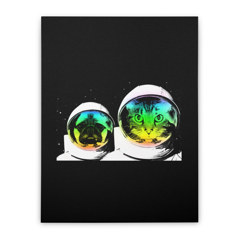 Cute animals on space Home Stretched Canvas by clingcling's Artist Shop