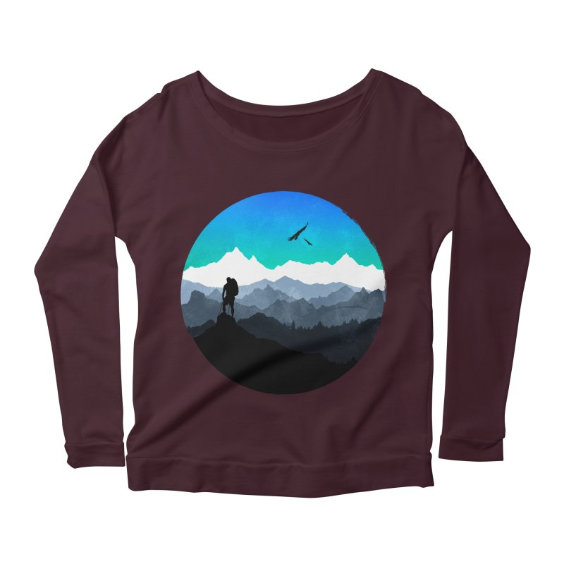 Top of the world Women's Longsleeve Scoopneck  by clingcling's Artist Shop