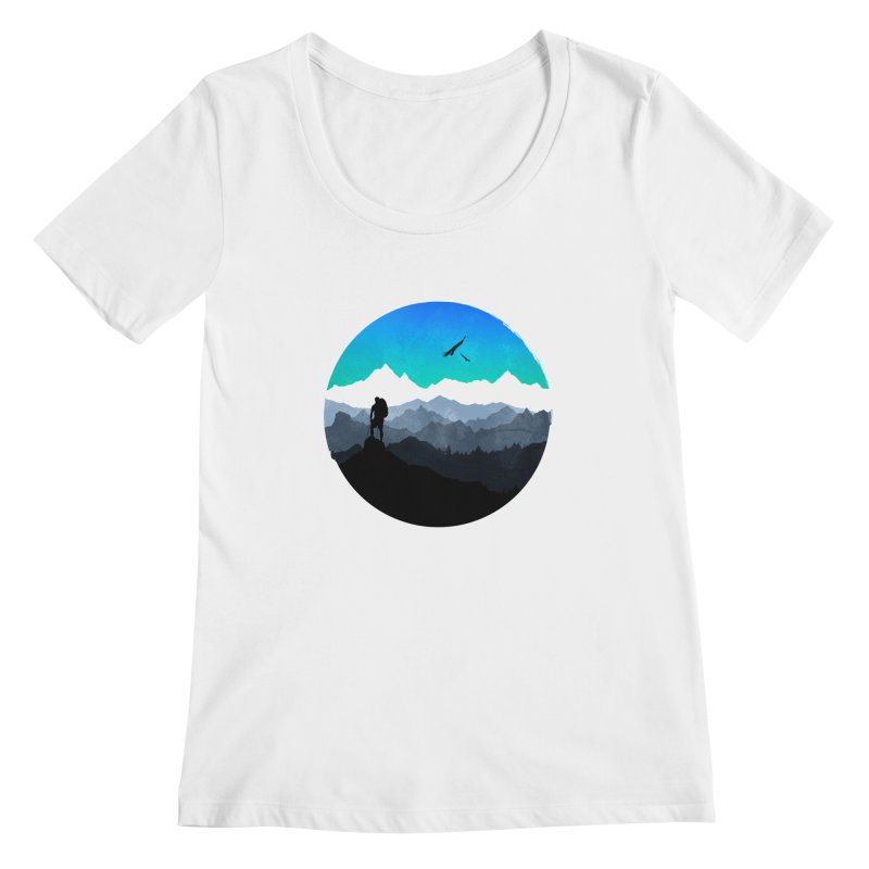 Top of the world Women's Scoopneck by clingcling's Artist Shop