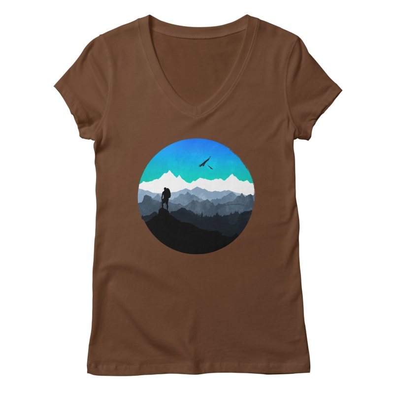 Top of the world Women's V-Neck by clingcling's Artist Shop