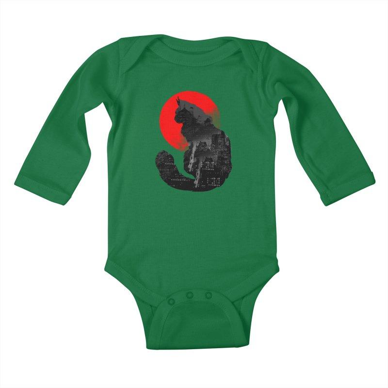 Urban Cat Kids Baby Longsleeve Bodysuit by clingcling's Artist Shop