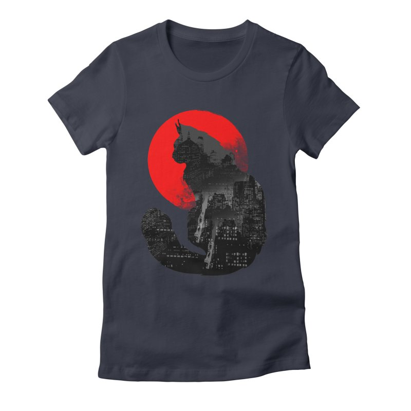 Urban Cat Women's Fitted T-Shirt by clingcling's Artist Shop
