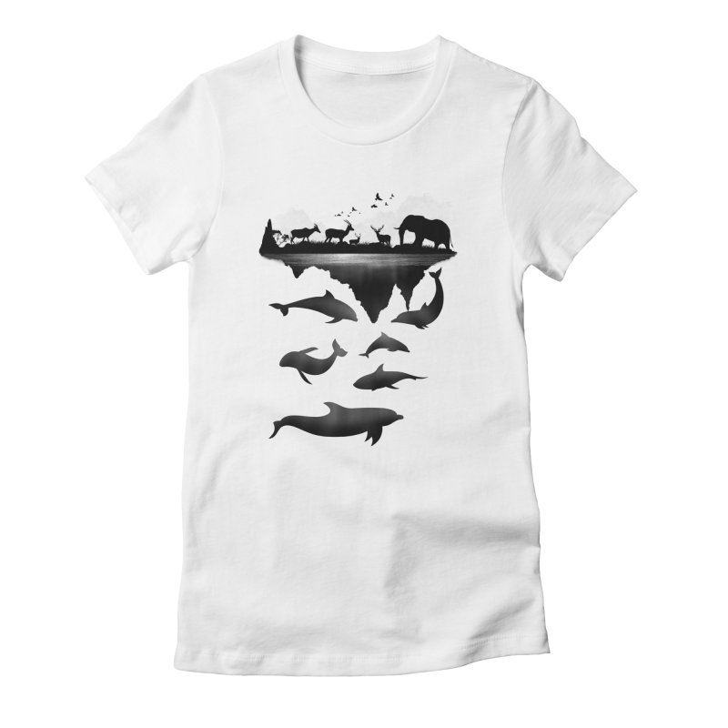 Wild Life Women's Fitted T-Shirt by clingcling's Artist Shop