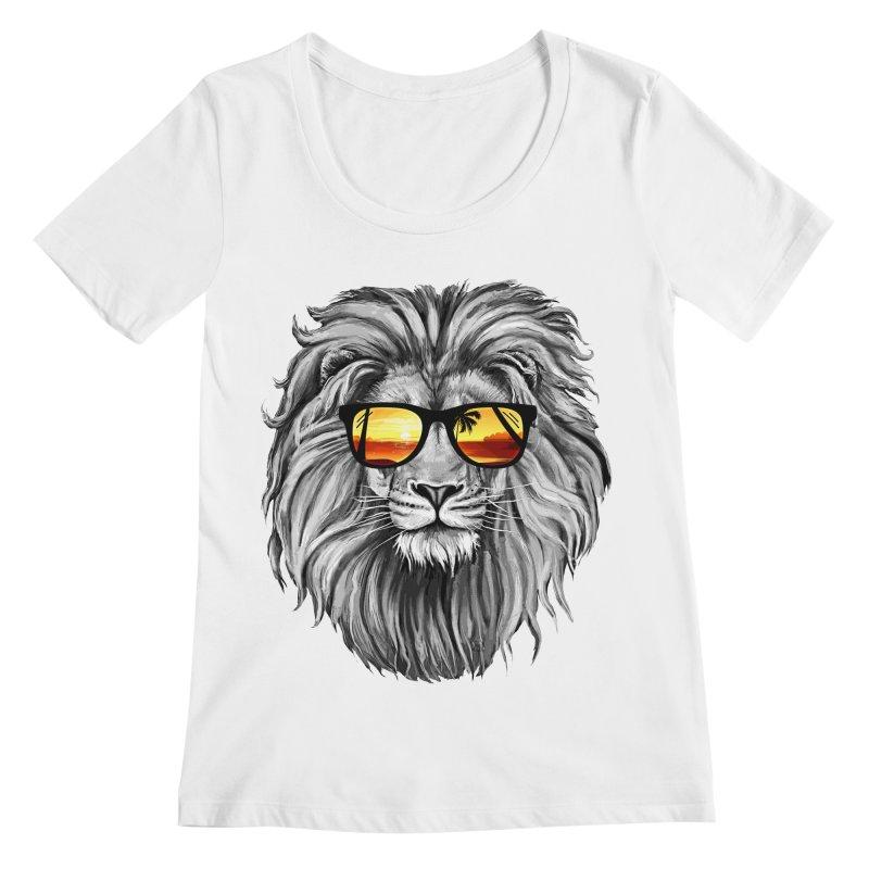 Summer Lion Women's Scoopneck by clingcling's Artist Shop
