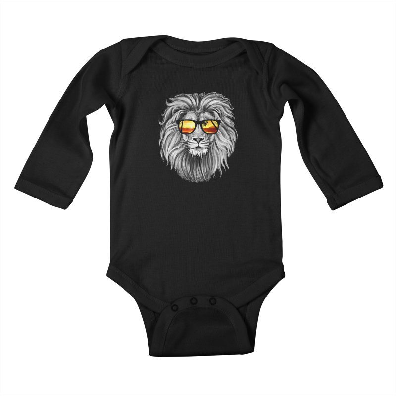 Summer Lion Kids Baby Longsleeve Bodysuit by clingcling's Artist Shop
