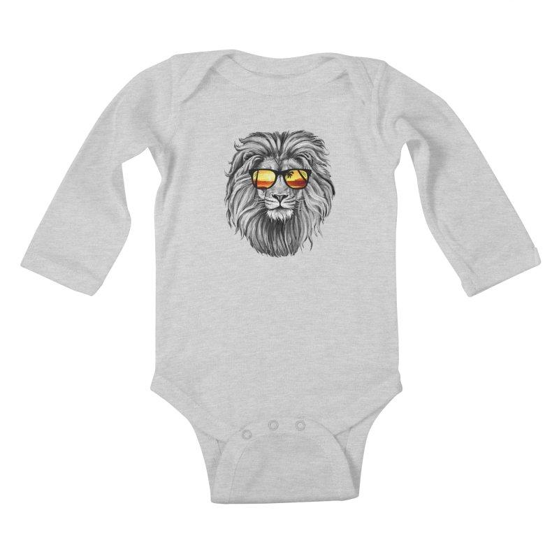 Summer Lion Kids Baby Longsleeve Bodysuit by clingcling's Artist Shop