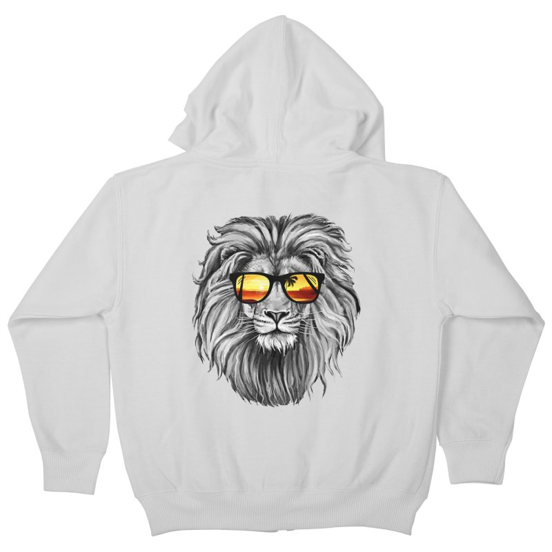 Summer Lion Kids Zip-Up Hoody by clingcling's Artist Shop