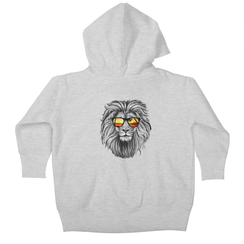 Summer Lion Kids Baby Zip-Up Hoody by clingcling's Artist Shop