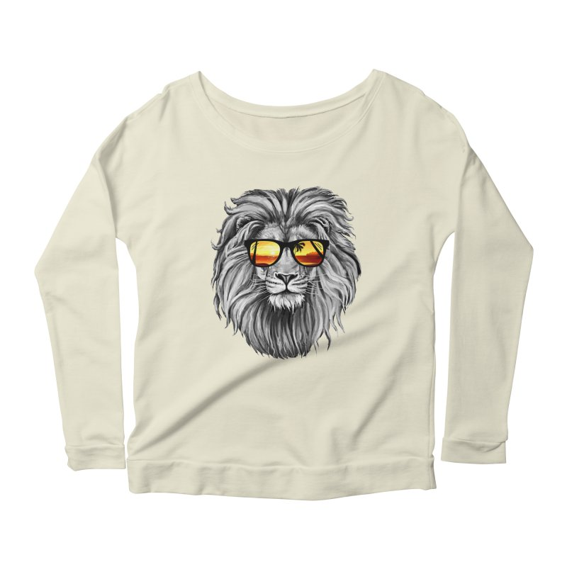 Summer Lion Women's Longsleeve Scoopneck  by clingcling's Artist Shop
