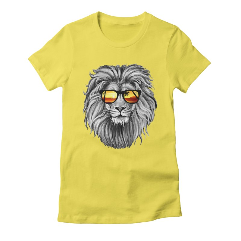 Summer Lion Women's Fitted T-Shirt by clingcling's Artist Shop