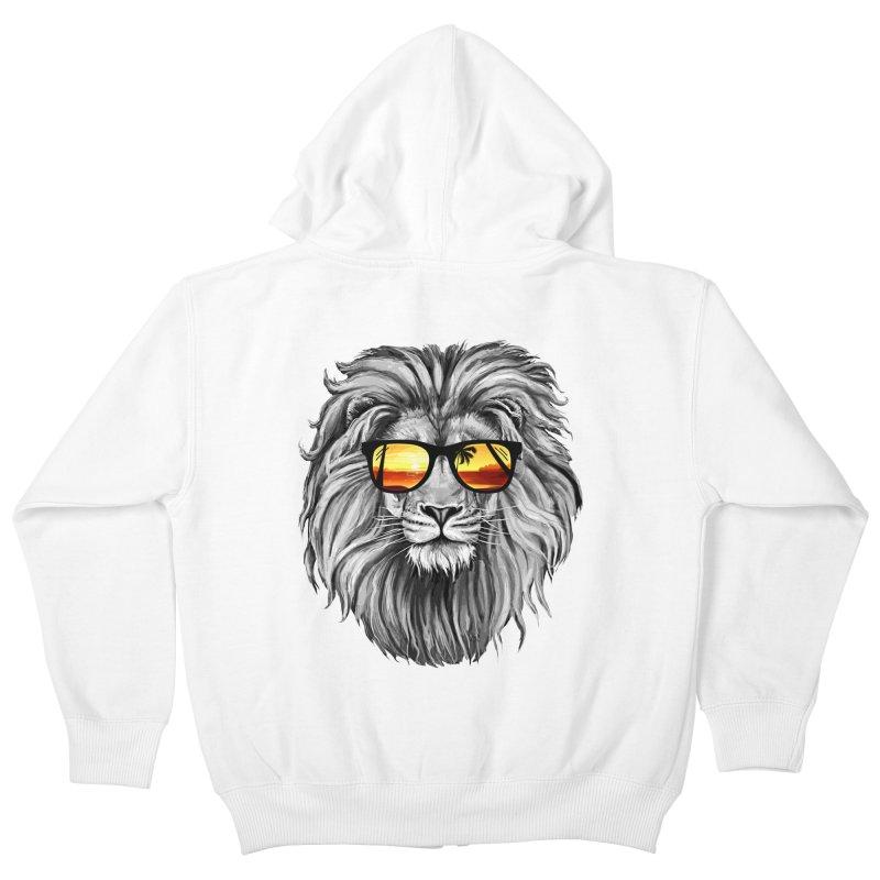 Summer Lion Kids Zip-Up Hoody by clingcling's Artist Shop