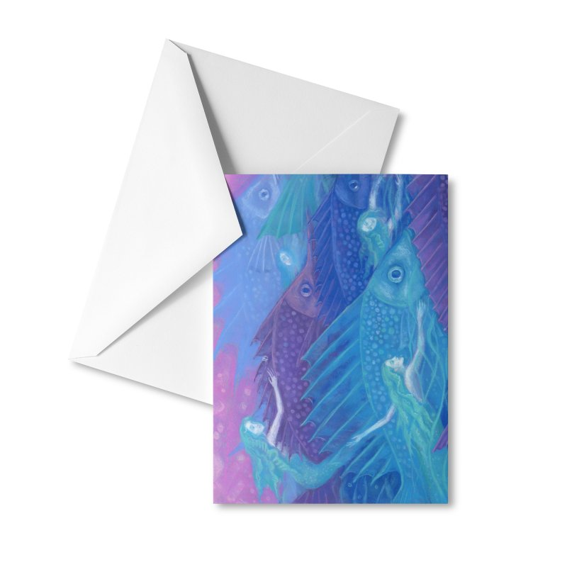 Ocean Nomads, Nautical Fantasy, Mermaids & Fishes, Pink Blue Purple Accessories Greeting Card by Clipso-Callipso