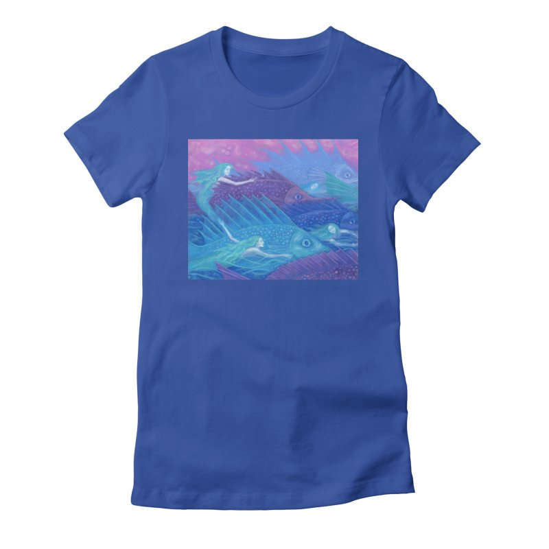 Ocean Nomads, Nautical Fantasy, Mermaids & Fishes, Pink Blue Purple Women's T-Shirt by Clipso-Callipso