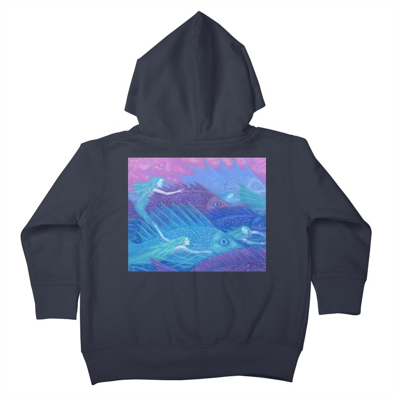 Ocean Nomads, Nautical Fantasy, Mermaids & Fishes, Pink Blue Purple Kids Toddler Zip-Up Hoody by Clipso-Callipso
