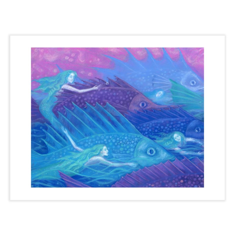 Ocean Nomads, Nautical Fantasy, Mermaids & Fishes, Pink Blue Purple Home Fine Art Print by Clipso-Callipso